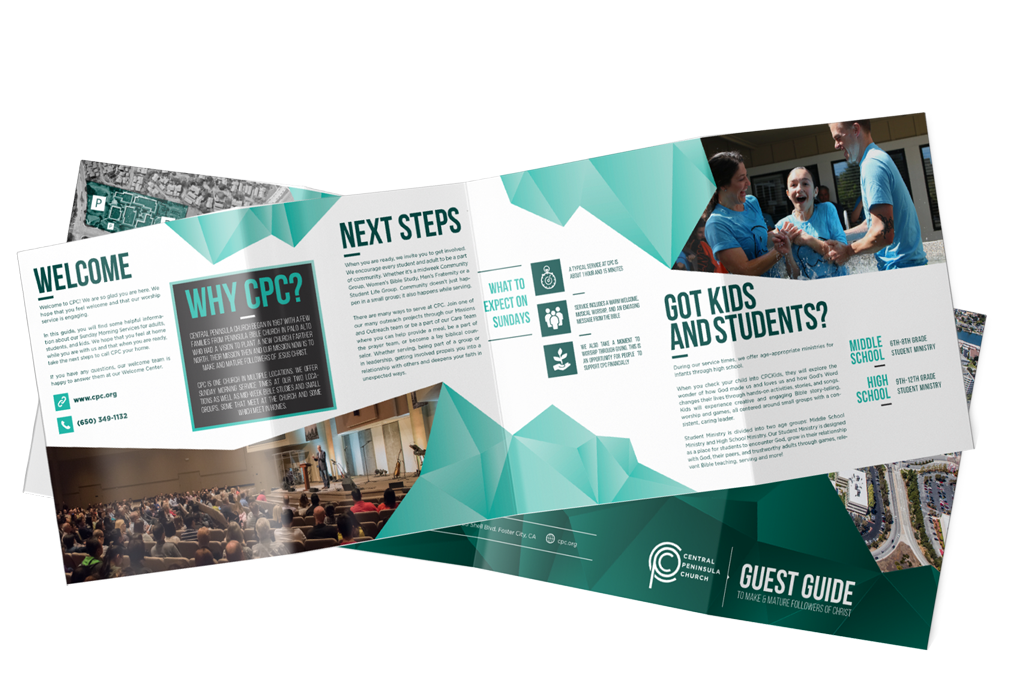 A preview of the CPC guest guide showing their welcome page with next steps. An image of the congregation during a service and a young girl being baptized are shown on the pages.