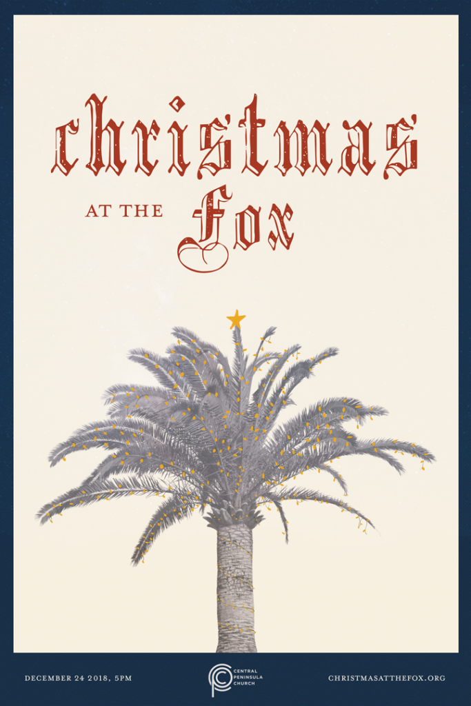 Central Peninsula Church's Christmas at the Fox poster showing a lit up palm tree with a star on top.