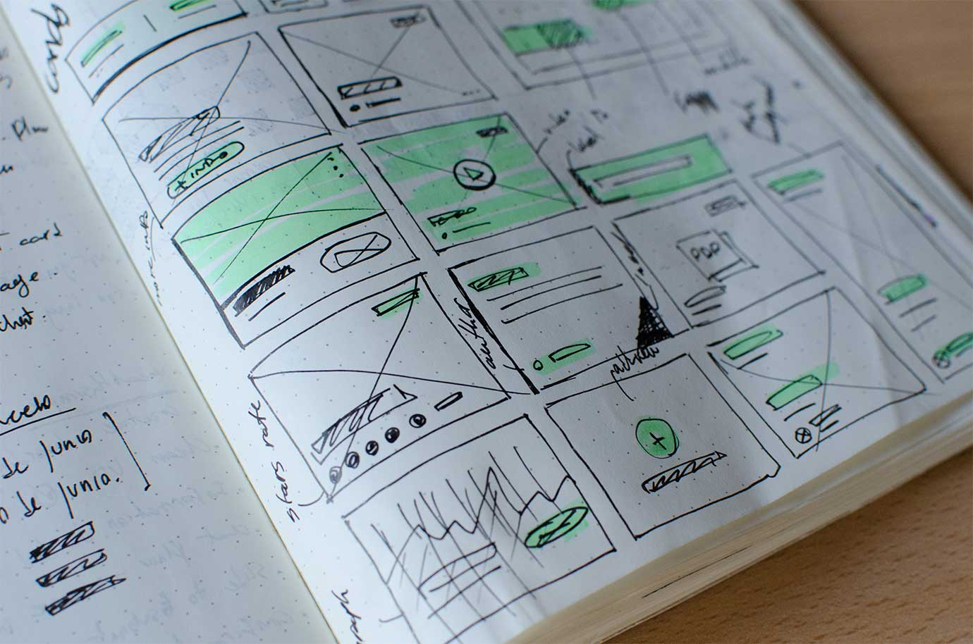 A close-up of graphics drawn in a notebook