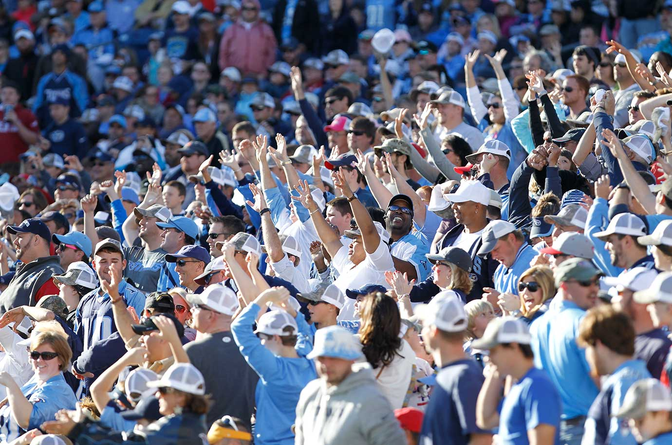 Tennessee Titans fans cheering in the stands