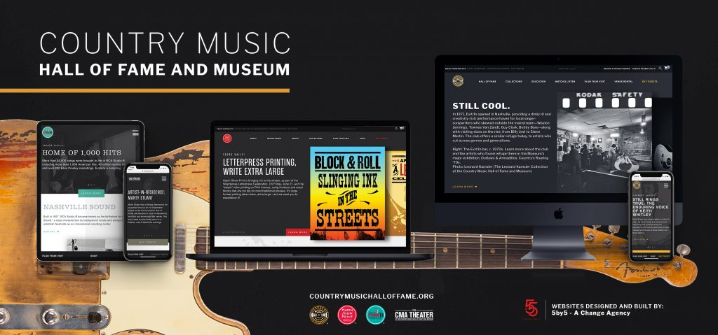 A social post for Country Music Hall of Fame and Museum depicting several screen grabs from their website on multiple devices scattered along a guitar.