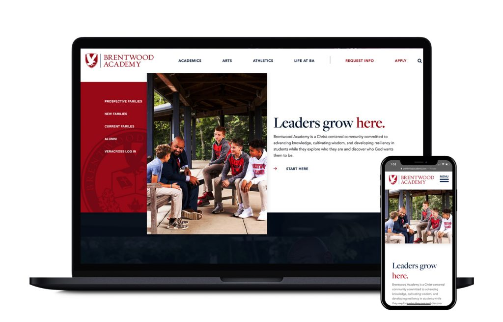 "Screen grab from Brentwood Academy website page ""Leaders grown here"" shown on a MacBook and iPhone."