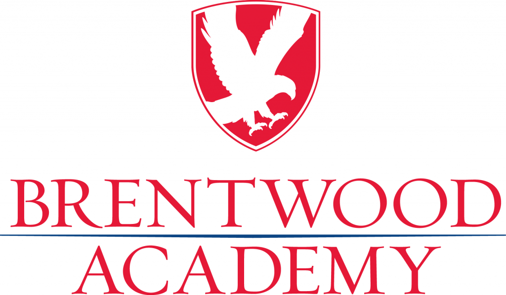Brentwood Academy red and blue logo with eagle.
