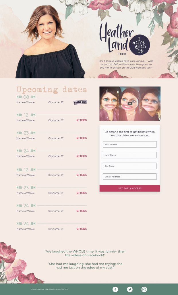 A mock-up of Heather Land's tour landing page, showing upcoming dates and how to get early access