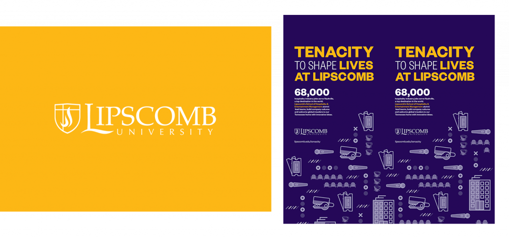 Lipscomb University's logo next to digital ad collateral