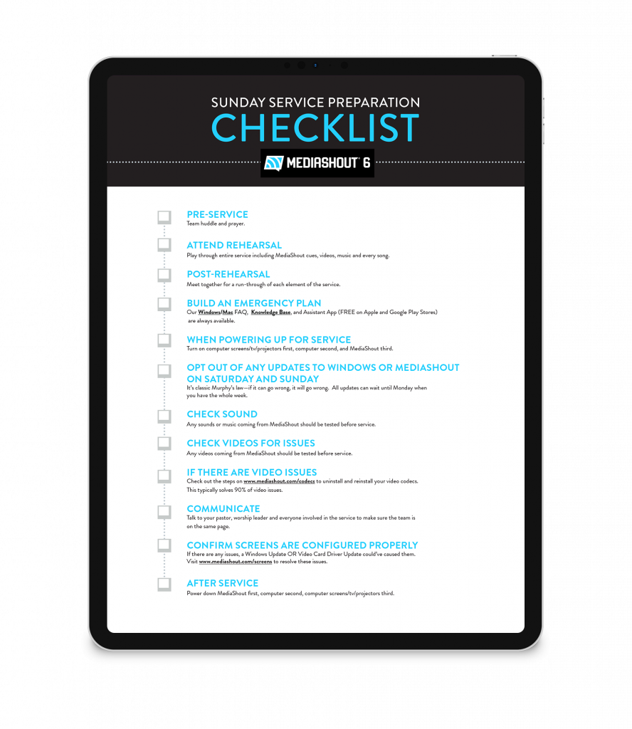 A mockup of Media Shout's Sunday Service Preparation checklist shown on an iPad.