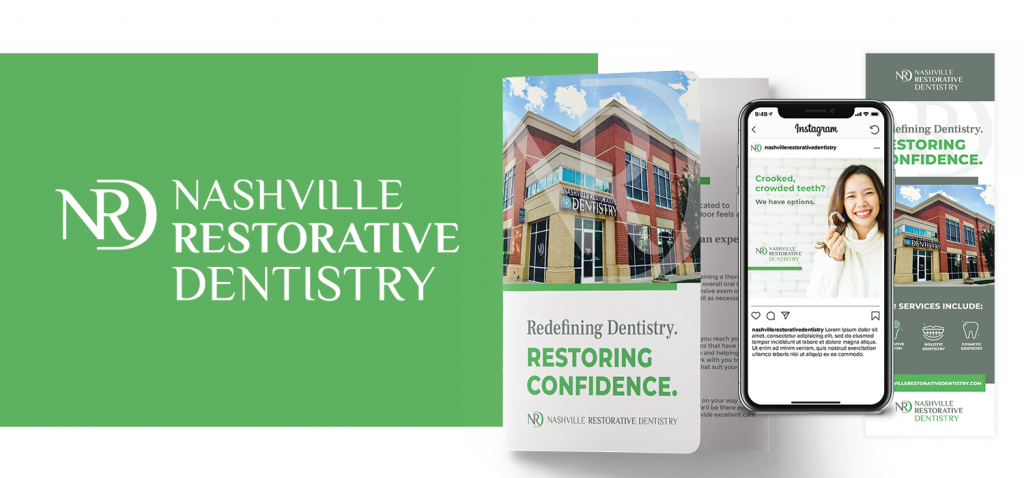 Nashville Restorative Dentistry logo next to marketing collateral mock-ups