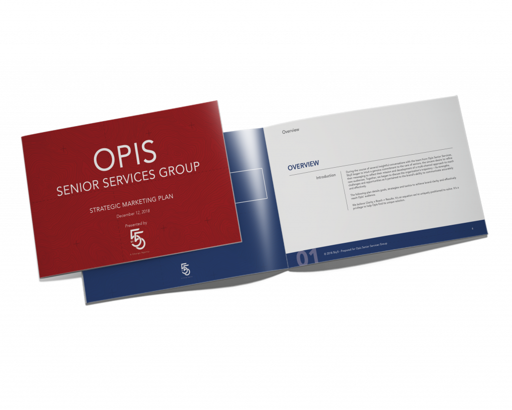 Opis Senior Services Group Strategic Marketing Plan booklet mock-up