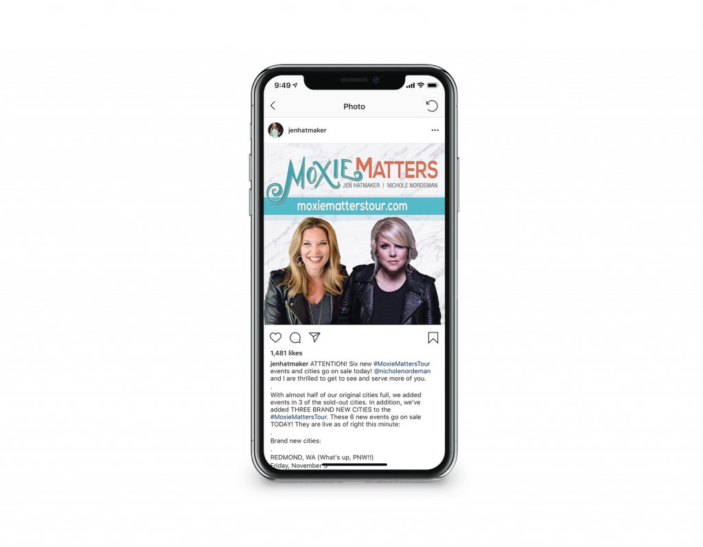 A mock-up Instagram post on an iPhone for Jen Hatmaker and Nichole Nordeman's Moxie Matters Tour