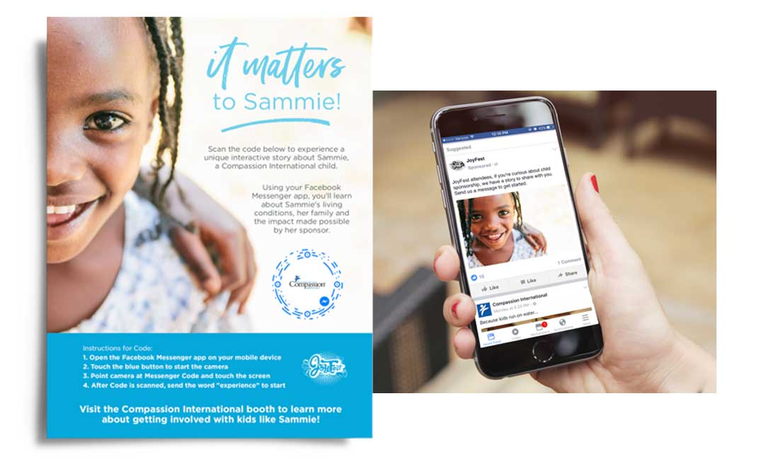 A mock-up of printed marketing collateral and a social media ad on a cell phone screen for Compassion International
