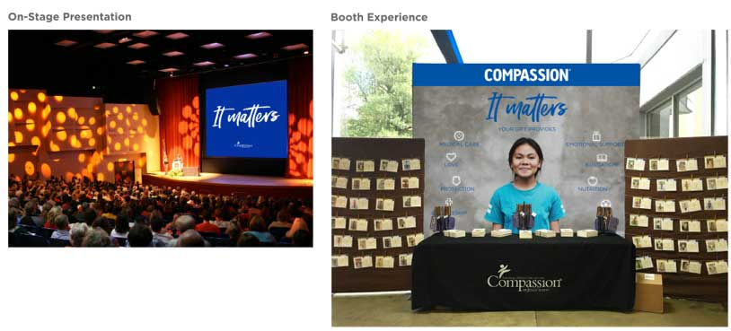 Mock-ups of an on-stage presentation backdrop and a booth experience backdrop for Compassion International