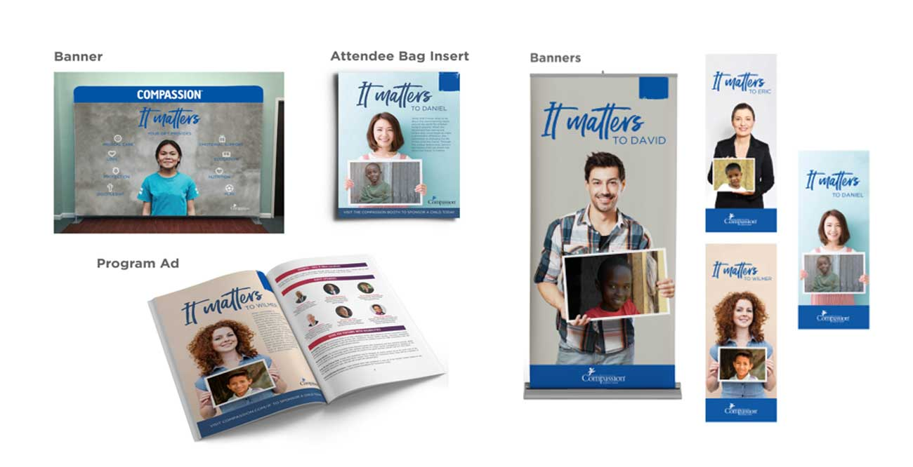 Mock-ups of banners, program ads, and attendee bag inserts for Compassion International