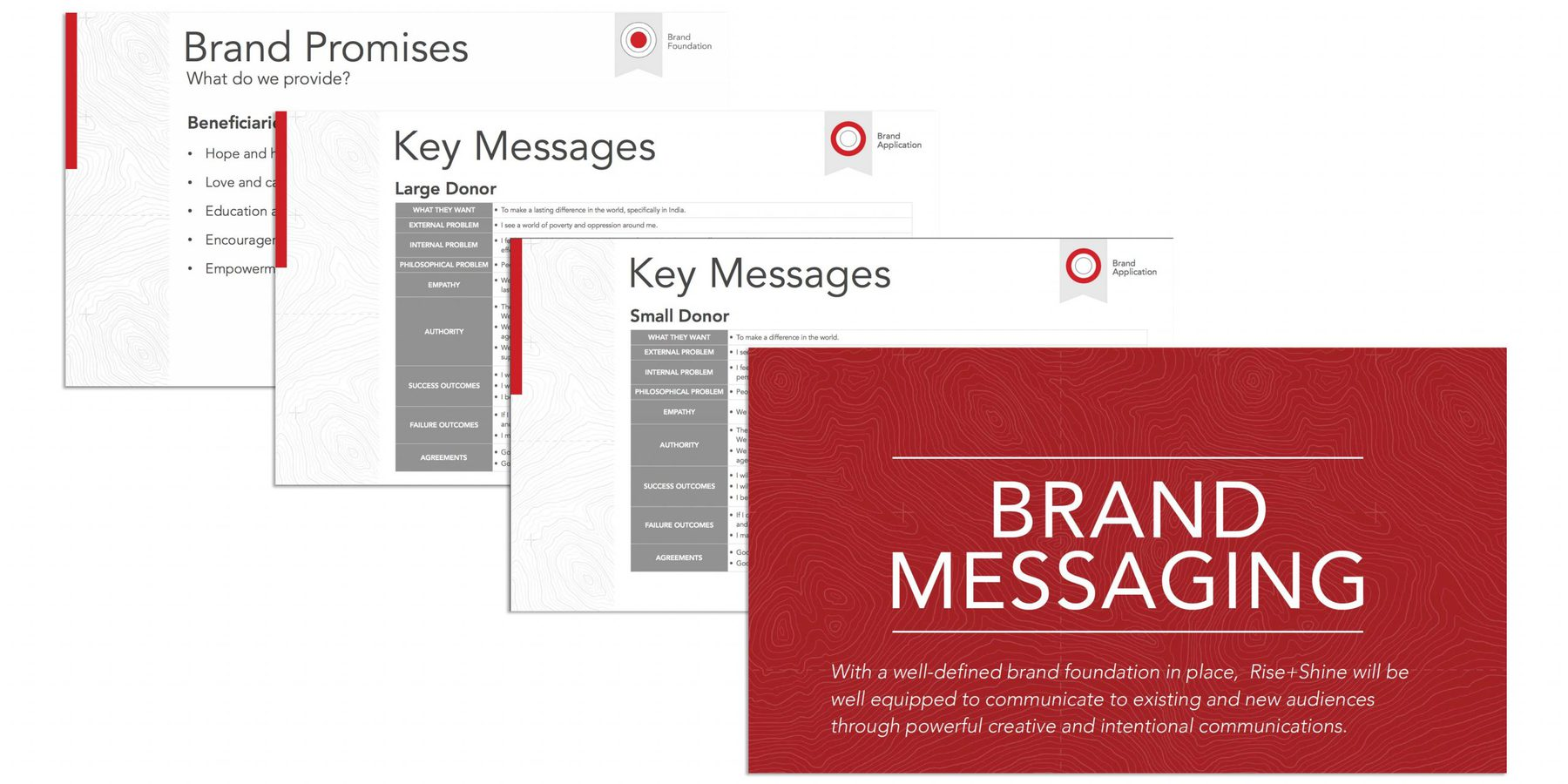 An example of four slides from a Brand Messaging presentation. Shown is the title slide, two Key Messages slides, and the Brand Promises slide.