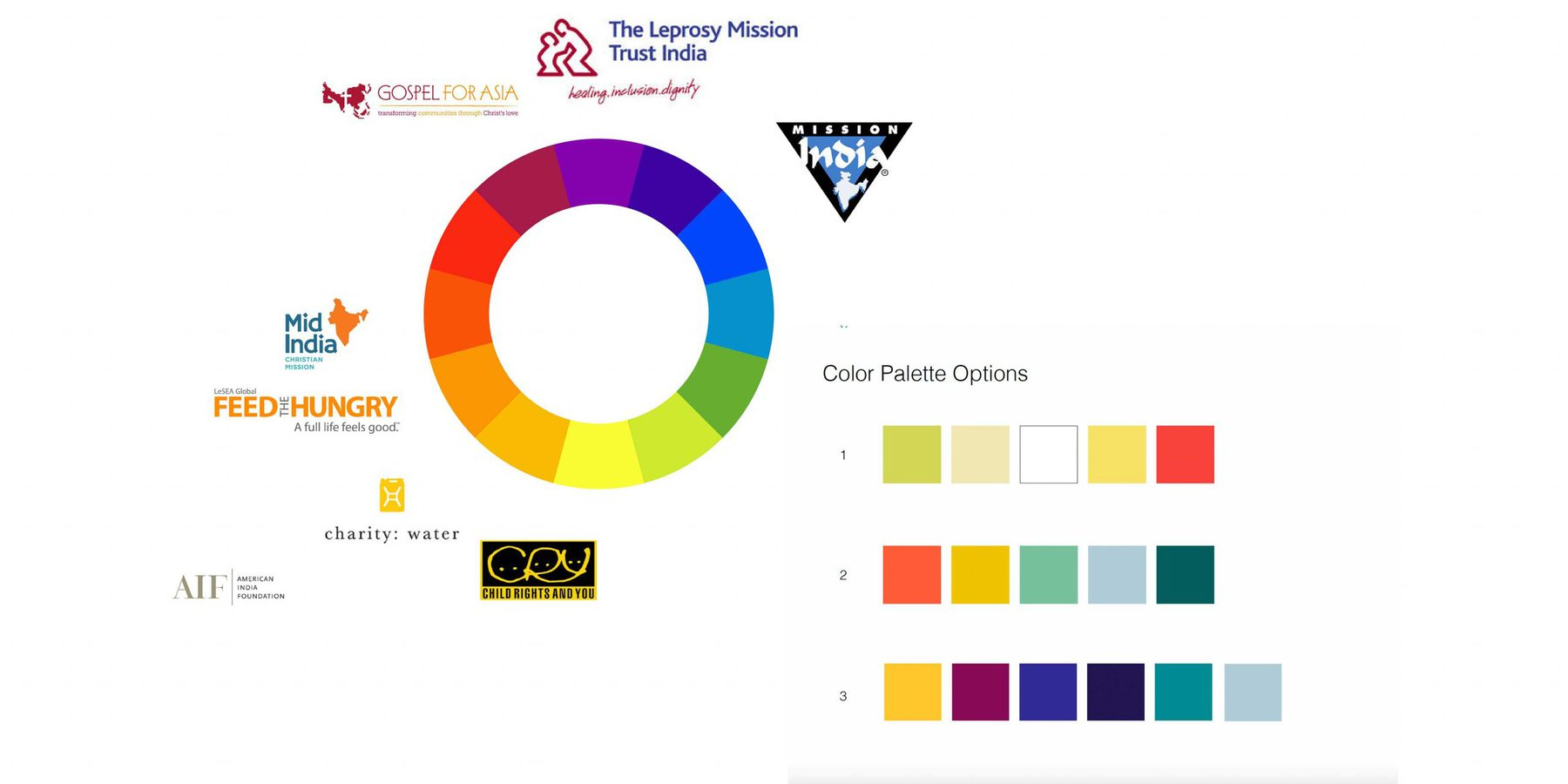 A color wheel with logos placed around it based on the brand's choice of colors. Three color palette options are presented on the right.