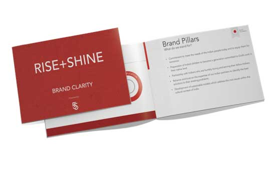 An example of a printed Brand Clarity plan designed for Rise+Shine