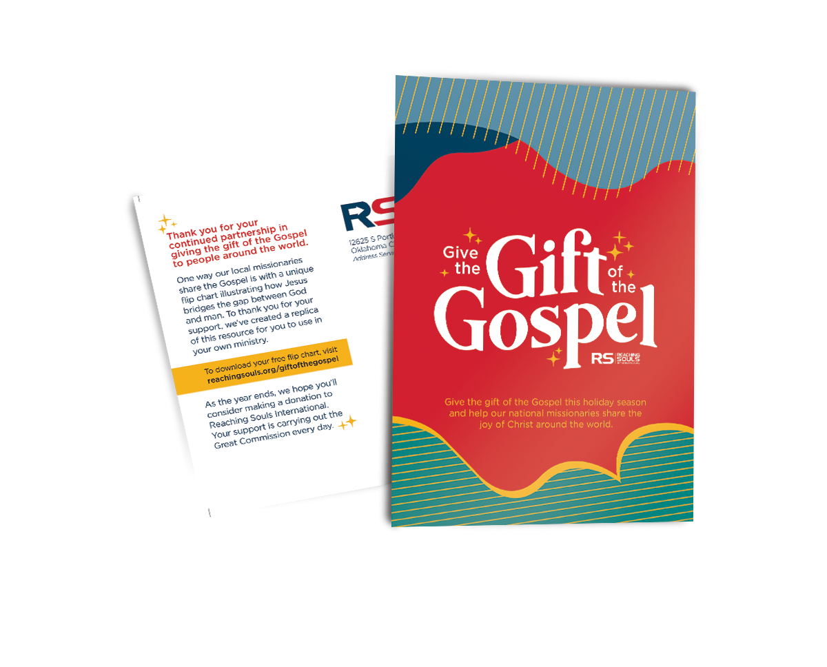 """A mockup of the """"Give the Gift of the Gospel"""" design, which includes text and design"""