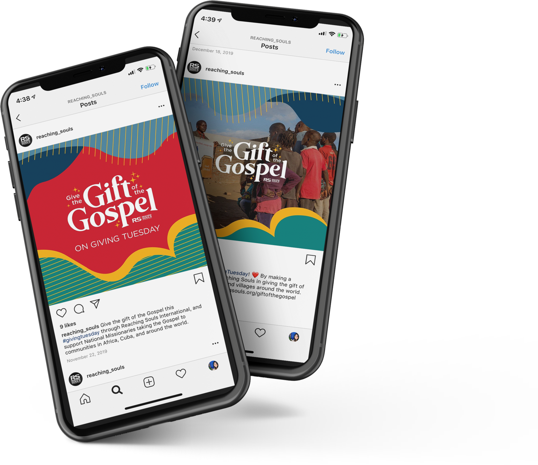 """A mockup of the """"Give the Gift of the Gospel"""" social media campaign, which includes an Instagram feed"""