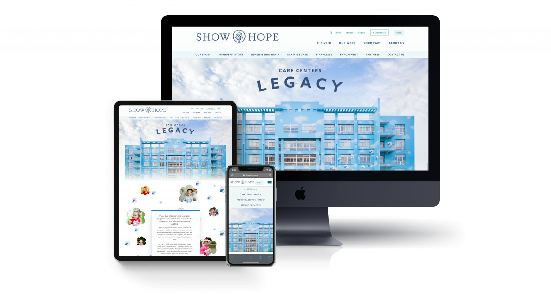 An iPad, an iPhone, and a desktop screen that show the Show Hope website, which includes a Care Center building, photos of the children who live there, and text