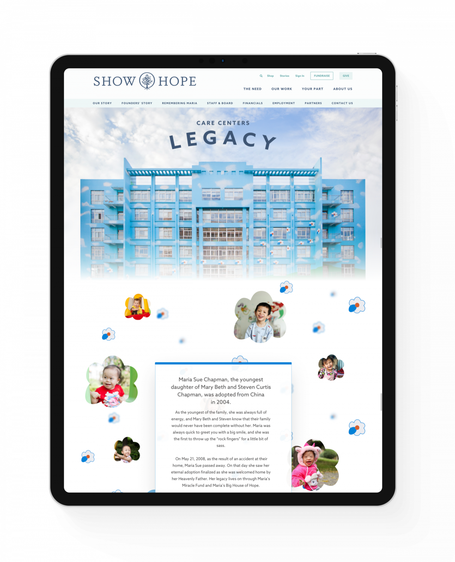 An iPad that shows the Show Hope website, which includes a Care Center building, photos of the children who live there, and text